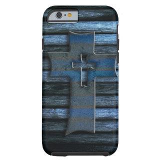 Cruz de madeira azul capa para iPhone 6 tough