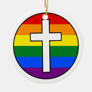 Cruz do arco-íris ornamento de cerâmica