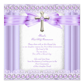 Cruz do comunhão santamente das meninas lavanda convite quadrado 13.35 x 13.35cm