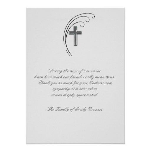 Cruz e samambaia - obrigado do falecimento você No Convites Personalizado
