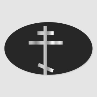 Cruz ortodoxo da cristandade adesivo oval