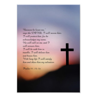 Cruz preta do salmo 91 no monte e no por do sol poster