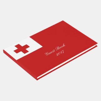 Cruz vermelha da bandeira da ilha de Tonga Livro De Visitas