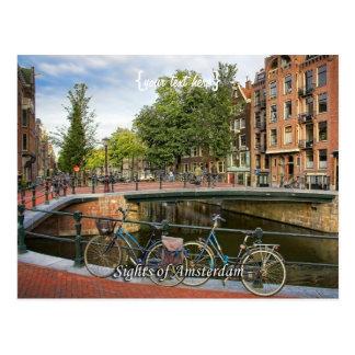 Cruzamento do canal, vistas de Amsterdão Cartões Postais