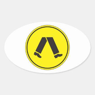 Cruzamento pedestre, sinal de aviso do tráfego, AU Adesivo Oval