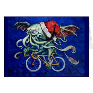 Cthulhu em uma bicicleta cartão comemorativo