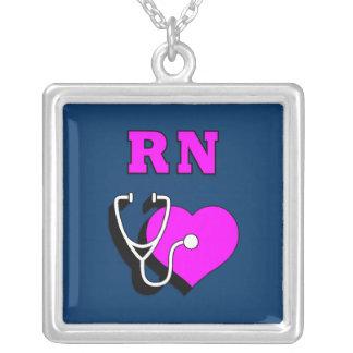 Cuidado do RN Colar Com Pendente Quadrado