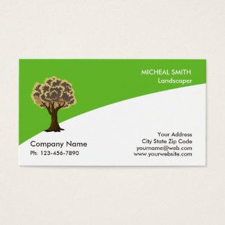 Cuidado e paisagem do gramado do jardim da árvore cartão de visitas