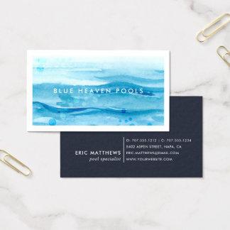 Cuidado ou natação azul da piscina da ondinha | cartão de visitas