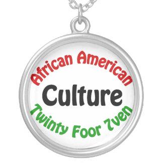 Cultura do afro-americano colar banhado a prata