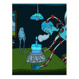 Cumprimento azul do aniversário cartao postal