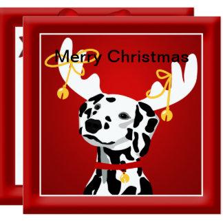 Cumprimento Dalmatian do Natal do cão Convite Quadrado 13.35 X 13.35cm