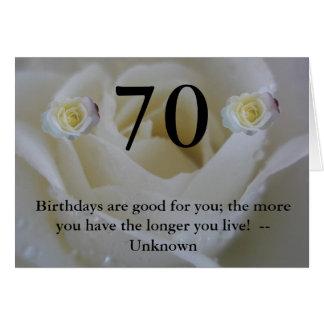 cumprimento das citações do rosa branco do anivers cartão comemorativo