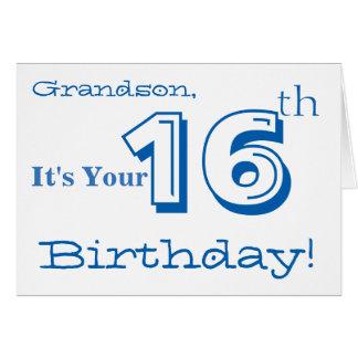 Cumprimento do aniversário do neto 16o em azul & cartão comemorativo