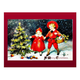 Cumprimento do Natal com as três pessoas que canta Cartao Postal