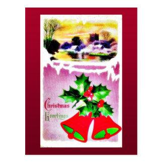 Cumprimento do Natal com sino e cenário Cartão Postal