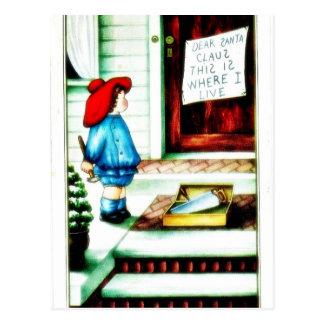 Cumprimento do Natal com uma menina Cartão Postal