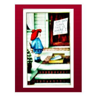 Cumprimento do Natal com uma menina que está com c Cartao Postal