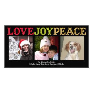 Cumprimento do Natal do preto do woodblock da paz  Cartão Com Foto