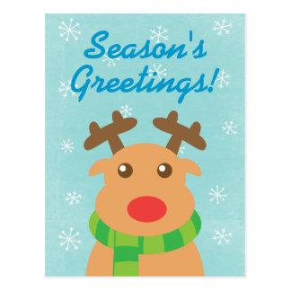 Cumprimento do Natal - rena bonito com nariz verme Cartao Postal