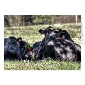 Cumprimentos alegres de Cowmas do azevinho preto Cartão De Nota