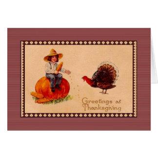 Cumprimentos da acção de graças do estilo do cartão comemorativo