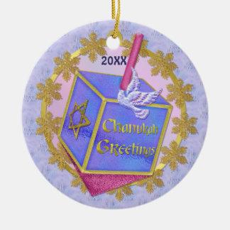 Cumprimentos de Chanukah Ornamento De Cerâmica Redondo