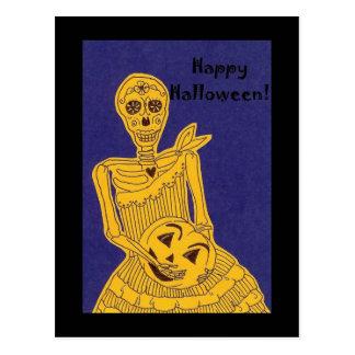 Cumprimentos de esqueleto do Dia das Bruxas Cartoes Postais