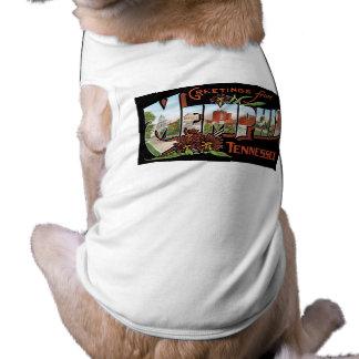 Cumprimentos de Memphis, Tennessee! Cartão retro Camisa Sem Mangas Para Cachorro