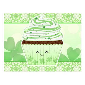 Cupcake bonito do Dia de São Patrício do kawaii Cartão Postal