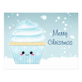 Cupcake bonito do floco de neve do Natal de Kawaii Cartão Postal