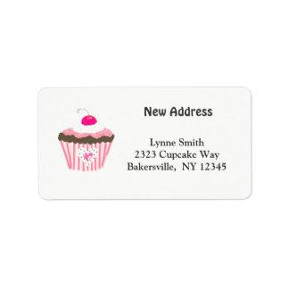 Cupcake com endereço novo do coração etiqueta de endereço