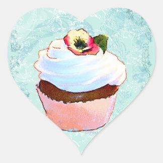 Cupcake com etiquetas do design da arte do amor pe adesivos