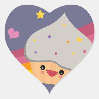 Cupcake de Cutie Adesivo Coração