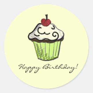 cupcake do aniversário adesivo