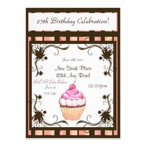 Cupcake do feliz aniversario convites personalizados