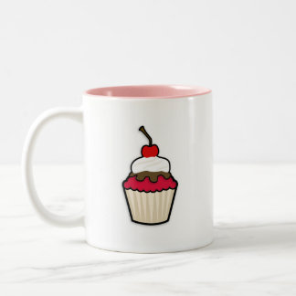 Cupcake do vermelho carmesim caneca dois tons
