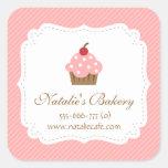 Cupcake elegante, moderno, cor-de-rosa, padaria adesivo quadrado