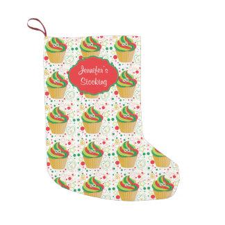 Cupcake engraçado personalizado 2 do smiley do bota de natal pequena