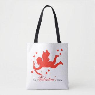 Cupido com corações vermelhos por todo o lado no bolsa tote