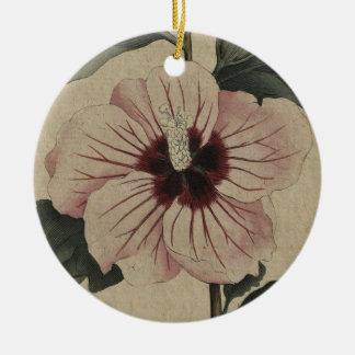 curtis-botanical-v3-1792_plate83_SyrianHibiscus.jp Ornamento De Cerâmica Redondo