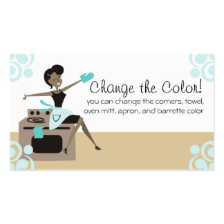 Custom color African American woman cooking baking Business Card Template