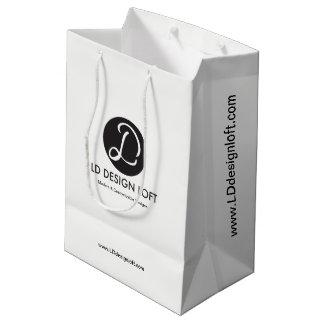 Customizável com logotipo da empresa de negócio, sacola para presentes média