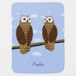Cute Brown Owls Blue Sky on a Baby Blanket