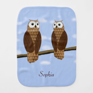 Cute Brown Owls Blue Sky on Burp Cloth