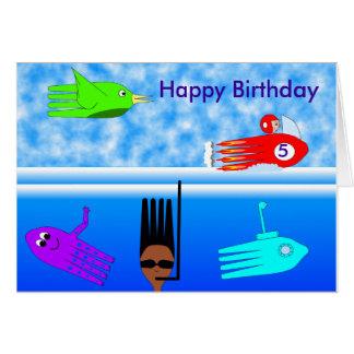 Cutelaria submarina, feliz aniversario, cartão