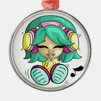 Cutie da música ornamento redondo cor prata
