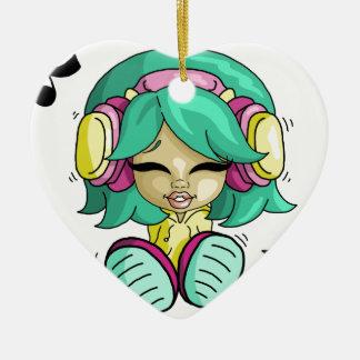 Cutie da música ornamento de cerâmica coração