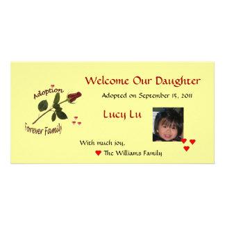 Da adopção cartão com fotos da família para sempre
