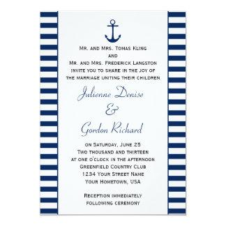 Da âncora branca das listras dos azuis marinhos convite 12.7 x 17.78cm